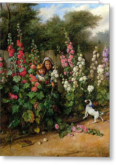 Behind The Hollyhocks Greeting Card by Charles Hunt