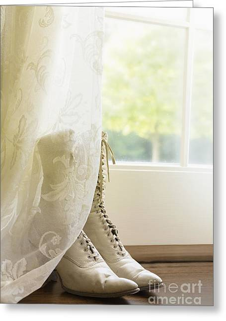 Behind The Lace Curtain Greeting Card by Margie Hurwich