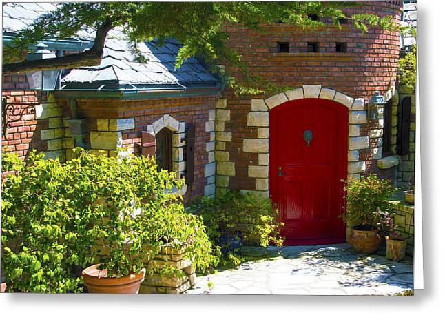 Behind The Red Door Pismo Beach California 2 Greeting Card by Barbara Snyder