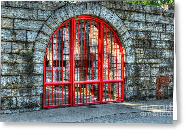 Behind The Red Gate Greeting Card by Mel Steinhauer
