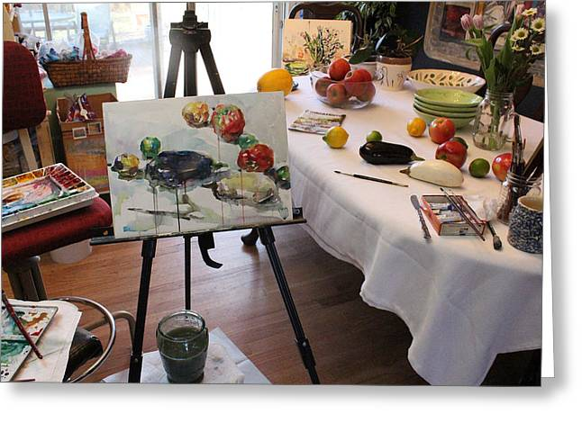 Behind The Scene - Eggplants And Fruits Greeting Card