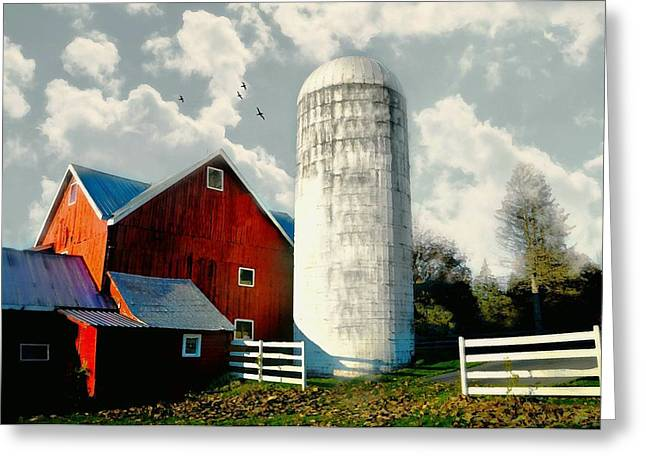 Behind The Silo Greeting Card by Diana Angstadt