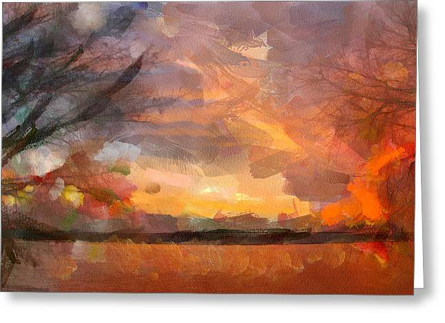 Behind The Trees Sunset Greeting Card