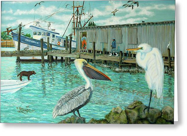 Behind Wando Shrimp Co. Greeting Card by Dwain Ray