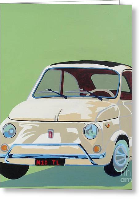 beige fiat 500 painting by nicky leigh. Black Bedroom Furniture Sets. Home Design Ideas