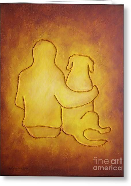 Being There 2 - Dog And Friend Greeting Card