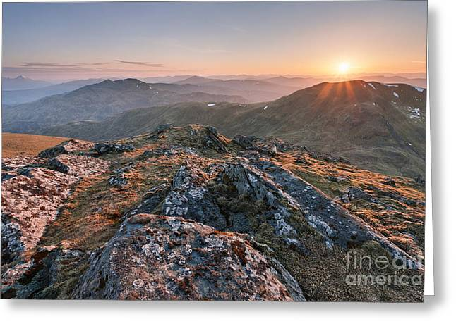 Sunset From Beinn Ghlas - Scotland Greeting Card by Rod McLean