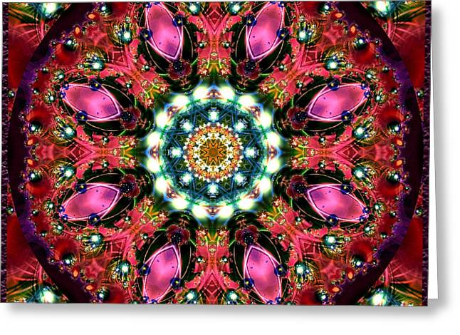Greeting Card featuring the digital art Bejewelled Mandala No 1 by Charmaine Zoe