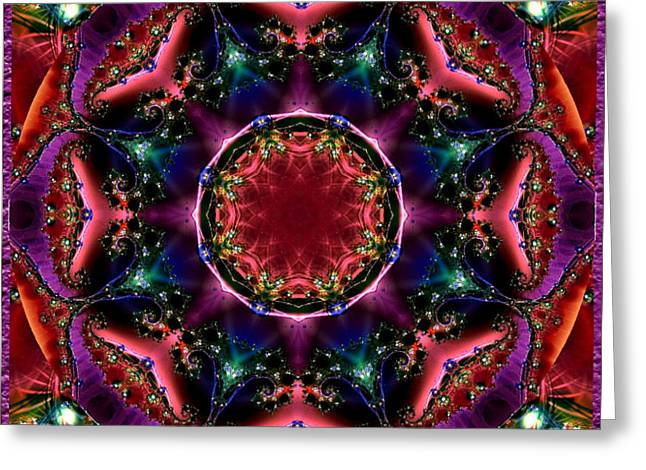 Greeting Card featuring the digital art Bejewelled Mandala No 3 by Charmaine Zoe