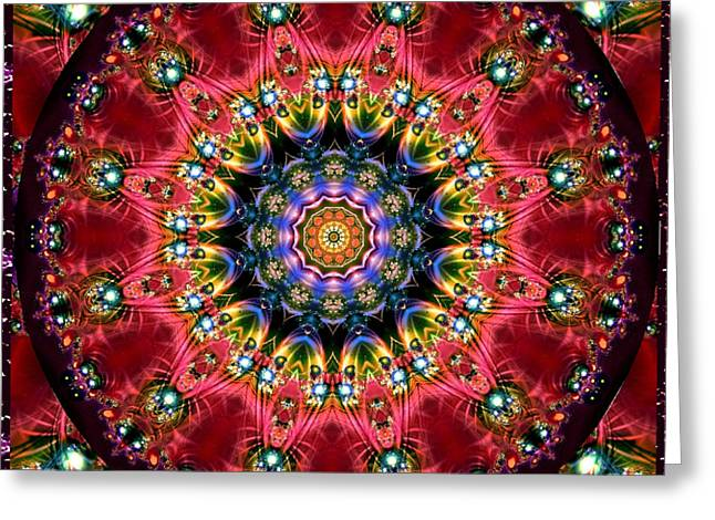 Greeting Card featuring the digital art Bejewelled Mandala No 4 by Charmaine Zoe