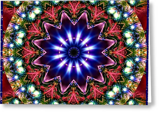 Greeting Card featuring the digital art Bejewelled Mandala No 5 by Charmaine Zoe
