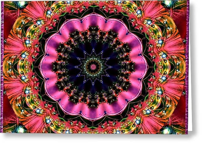 Greeting Card featuring the digital art Bejewelled Mandala No 6 by Charmaine Zoe
