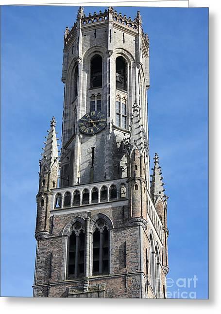 Belfry Tower In Bruges Belgium Greeting Card by Kiril Stanchev