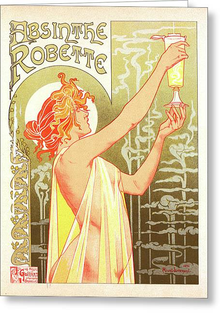 Belgian Poster For L Absinthe Robette Greeting Card