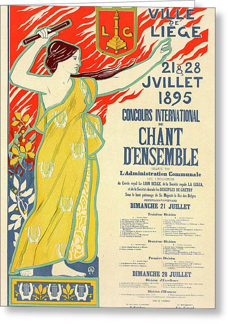 Belgian Poster For Le Concours International De Chant Greeting Card