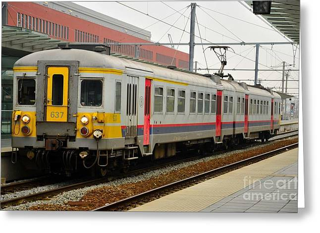 Belgium Railways Commuter Train At Brugge Railway Station Greeting Card