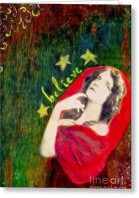 Greeting Card featuring the mixed media Believe by Desiree Paquette