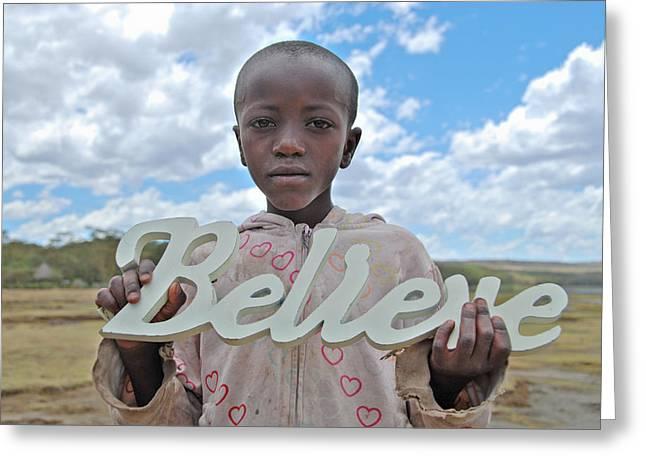 Believe In Africa Greeting Card by Mesha Zelkovich
