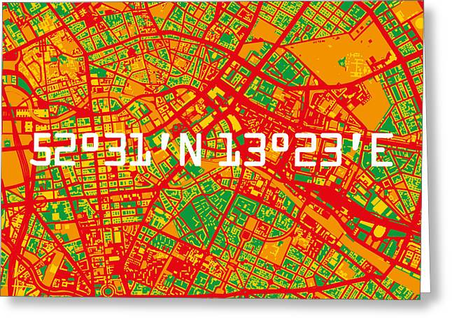 Berlin Map Greeting Card by Big City Artwork
