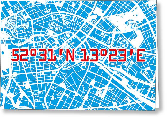 Berlin Map Blue Greeting Card by Big City Artwork