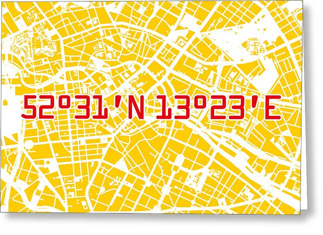 Berlin Map Yellow Greeting Card by Big City Artwork