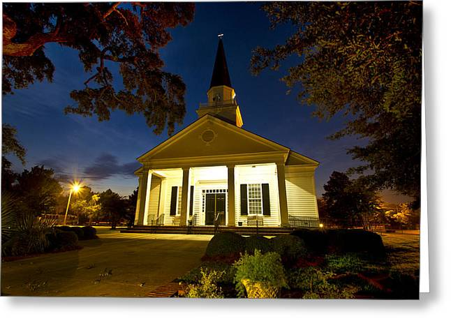 Belin Memorial Umc After Dark Greeting Card by Bill Barber