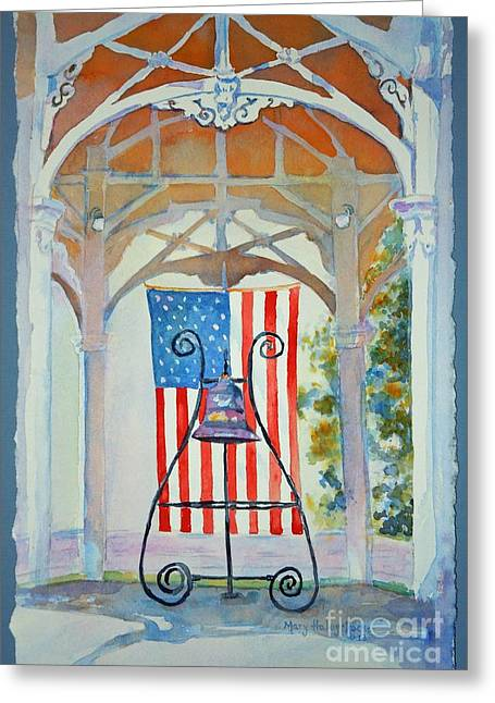 Bell And Flag Greeting Card
