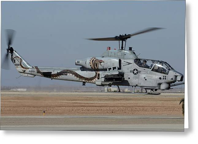 Bell-boeing Ah-1w Cobra Buno 165369 Naf El Centro February 19 2015 Greeting Card by Brian Lockett