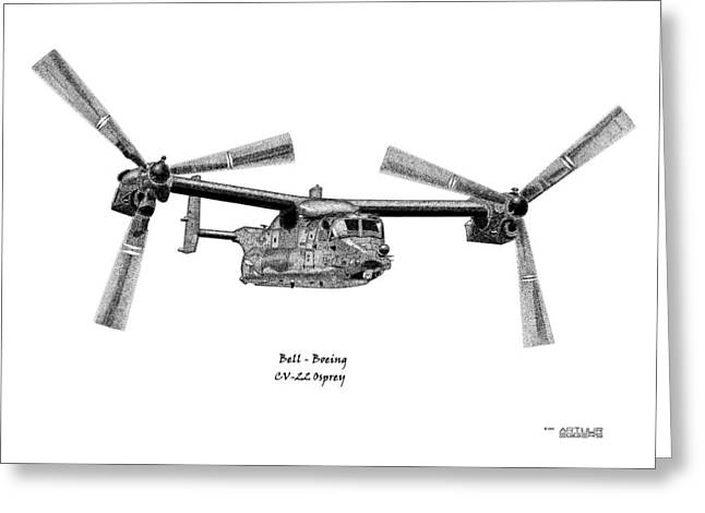 Greeting Card featuring the drawing Bell-boeing Cv-22b Osprey by Arthur Eggers