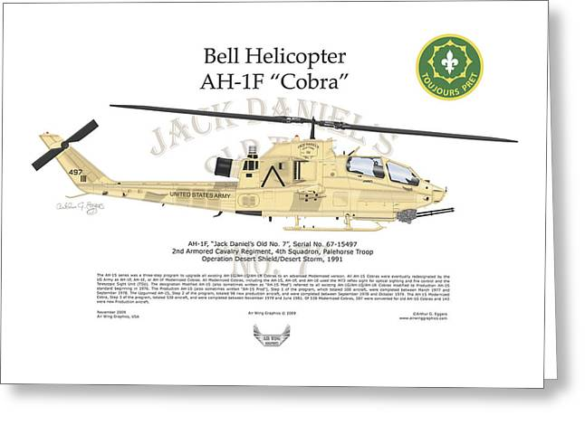 Bell Helicopter Ah-1f Cobra Greeting Card by Arthur Eggers