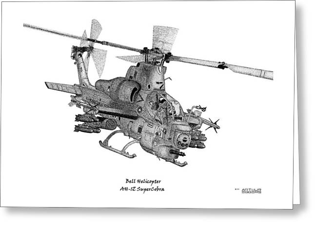 Bell Helicopter Ah-1z Supercobra Greeting Card by Arthur Eggers