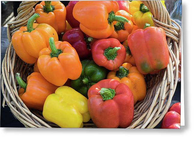 Bell Peppers For Sale At Street Market Greeting Card by Panoramic Images