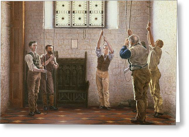 Bell Ringers Greeting Card by Henry Ryland