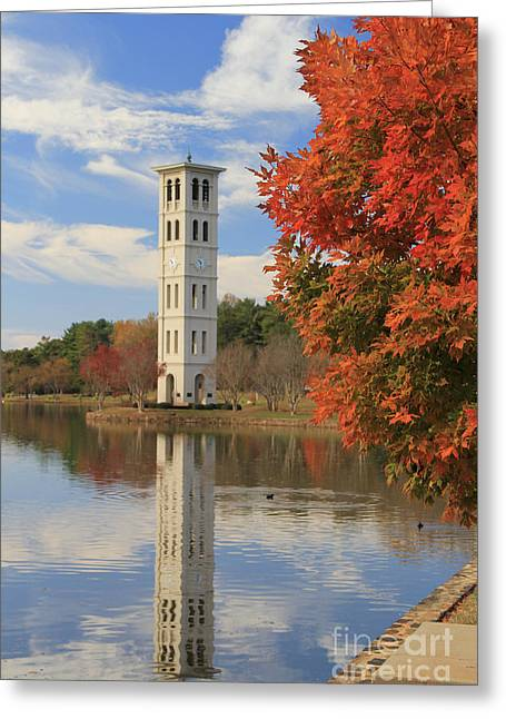 Bell Tower In Fall Greeting Card by John Roy