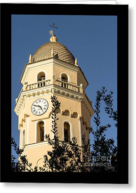 Bell Tower Of Vernazza Greeting Card