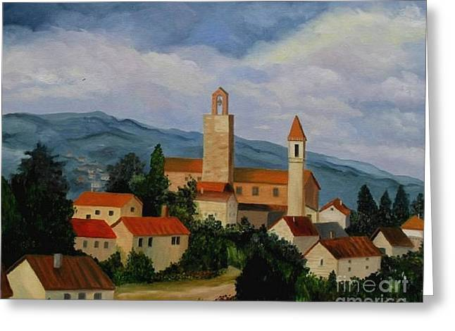 Greeting Card featuring the painting Bell Tower Of Vinci by Julie Brugh Riffey