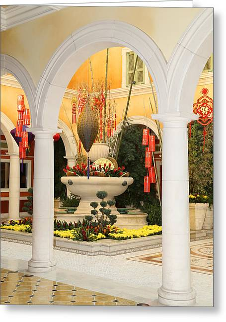 Greeting Card featuring the photograph Bellagio Chinese Display by Michael Hope