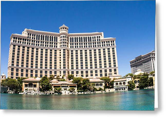 Bellagio Resort And Casino Panoramic Greeting Card by Edward Fielding