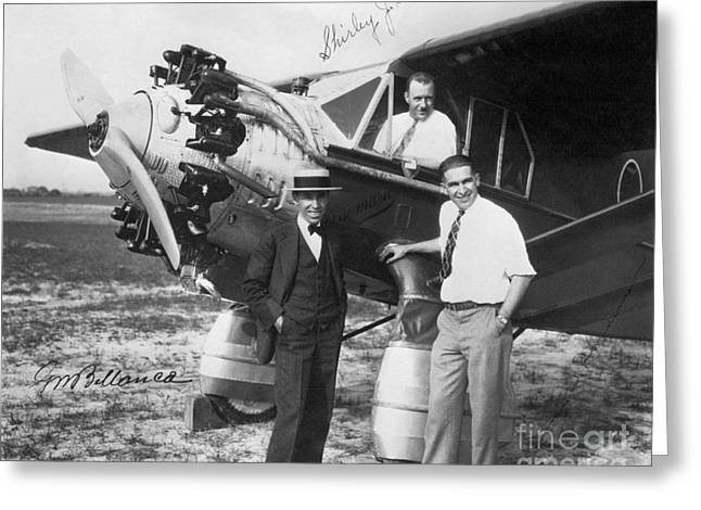 Bellanca Pilots And Aeroplane, 1920s Greeting Card by Hagley Archive