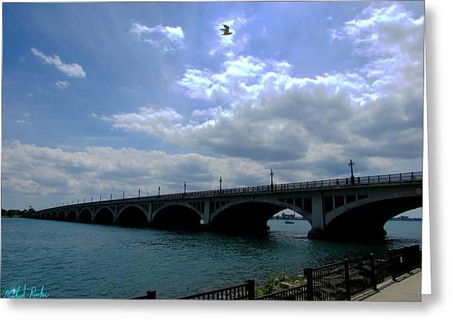 Belle Isle Bridge Detroit Greeting Card by Michael Rucker