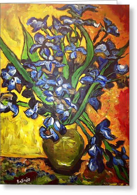 Greeting Card featuring the painting Belle's Pot Of Fiery Irises by Belinda Low