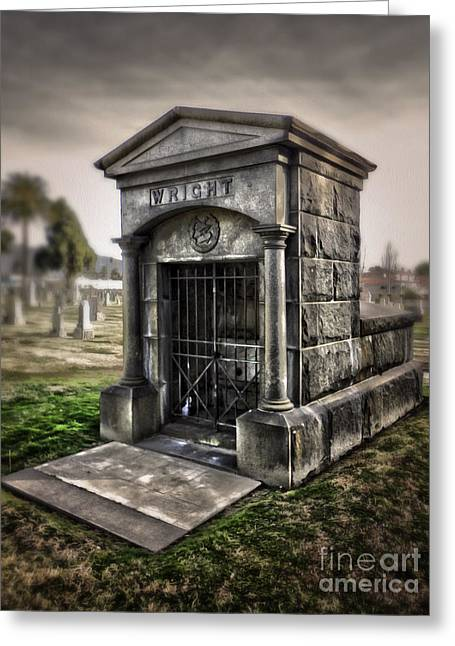 Bellevue Cemetery Crypt - 03 Greeting Card by Gregory Dyer
