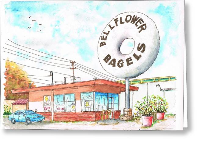 Bellflower Bagels In Bellflower, California Greeting Card by Carlos G Groppa