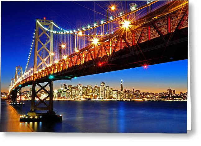Below The Bay Bridge And San Francisco Skyline Greeting Card