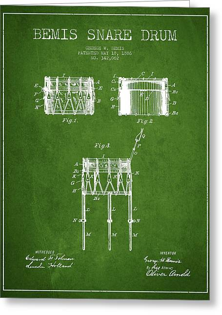 Bemis Snare Drum Patent Drawing From 1886 - Green Greeting Card by Aged Pixel