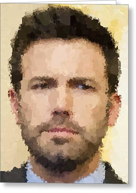Ben Affleck Portrait Greeting Card by Samuel Majcen