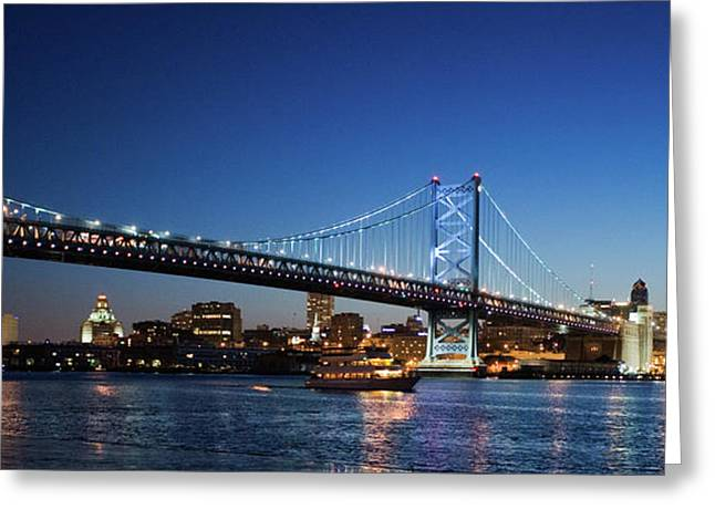 Ben Franklin Bridge At Dusk Greeting Card