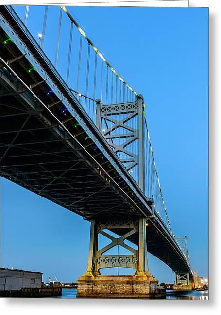 Ben Franklin Bridge Greeting Card by Louis Dallara