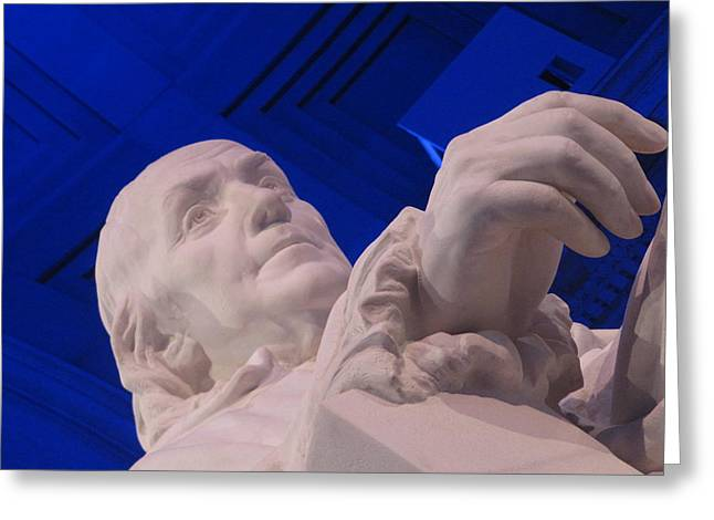 Ben Franklin In Blue I Greeting Card by Richard Reeve