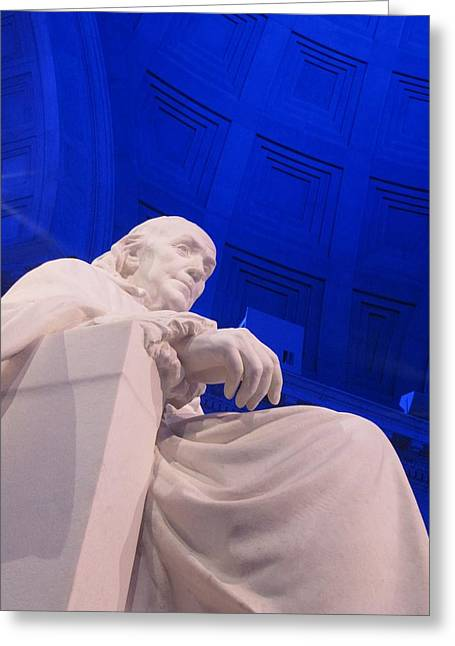 Ben Franklin In Blue II Greeting Card by Richard Reeve